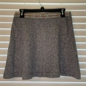 Grey Skirt with Patterned Waist